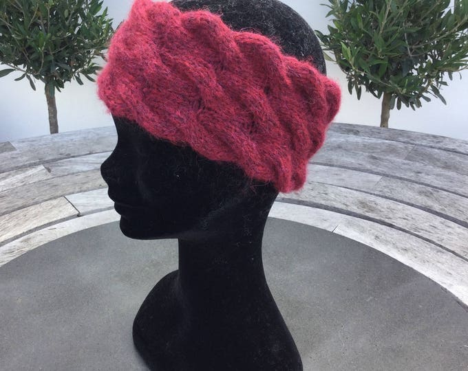 Red Alpaca headband / ear warmer by Willow Luxury