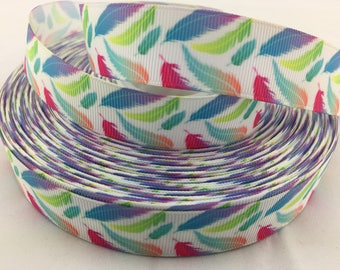 """Feather Grosgrain Ribbons, feather ribbons, Available in 5/8"""" or 7/8"""""""