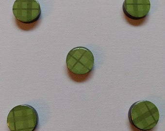 Green Plaid Magnet Set