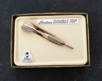Vintage Stratton Tie Clip - Double Top. Gents Vintage Stratton - Dart Tie Clip By Stratton London. Vintage Dart Shaped Tie Clip By Stratton.