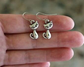 Silver Cat Earrings, Cat Jewelry, Cute Earrings, Animal Earrings, Animal Lover Earrings, Cat Lover Earrings, Pet Owner Jewelry, Silver Cats