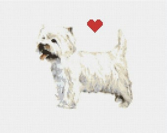 West Highland White Terrier - Westie -  Counted Cross Stitch Pattern / Chart,  Instant Digital Download (AP290)