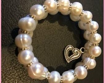 Real Pearl Bracelet Silver Heart