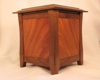 Black Walnut and Crotch Mahogany Cremation Urn