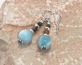 Sterling silver drop earrings, blue earrings, green earrings, amazonite earrings, dangle earrings, sundance style earrings, gift for her
