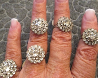 Blowout SALE>>Showstopping 1940's Glamour vintage ring! STERLING & Rhinestones, Stunning! Only a couple left!