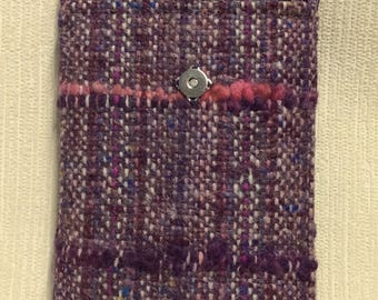 Welsh tweed phone case, cell case in heather, lilac