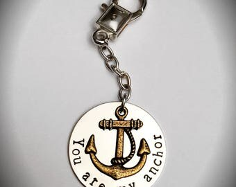You Are My Anchor - Hand Stamped Silver Plated Tag Keychain