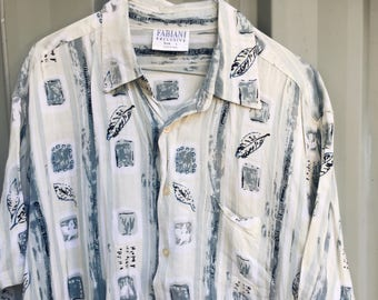 Mens vintage party shirt - 70s 80s short sleeve button up tee - pale blue green retro pattern - soft light summer oxford tee - LARGE