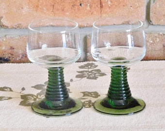 Roemer green ribbed stem vintage German 100ml capacity cocktail, wine or port glasses, 1970s