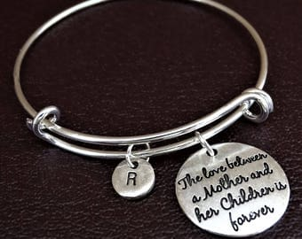 The love between a Mother and her Children is forever Bracelet, Daughter Mother Bracelet, Daughter Mother Bangle, Daughter Mother Jewelry