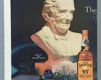 1957 Old Grand-dad Bourbon Whiskey Double Page Print Ad