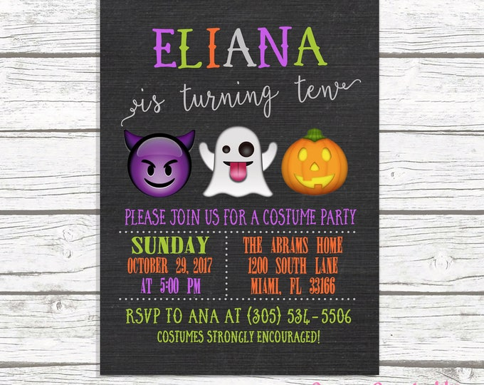 Halloween Birthday Invitation, Emoji Birthday Invitation, Kids Halloween Party Invitation, Kids Costume Party Invitation, Emoji Invitation
