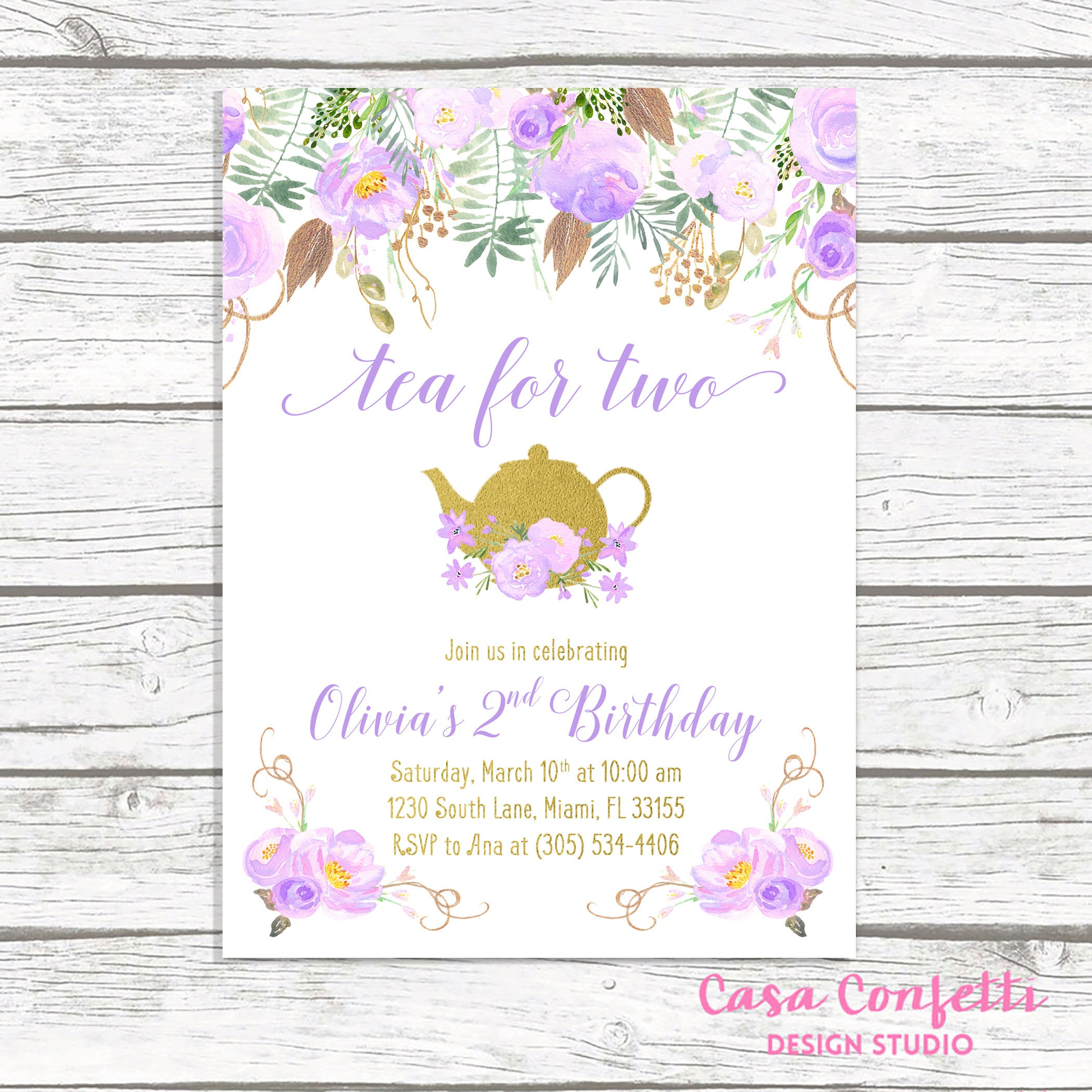 Tea For Two Party Birthday Invitation Lavender Purple Girl First