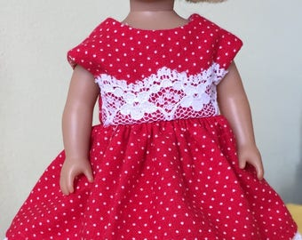 "6"" mini doll clothes:  red polka-dot party dress"