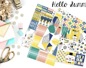 Hello Summer | Fits Erin Condren - Vertical | Planner Stickers