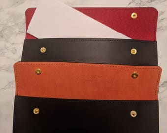 DORNEY Premium Leather and Suede Pouch for A4 sheet folded in 4. Ideal for Travel Documents, Wills, the List is Endless.