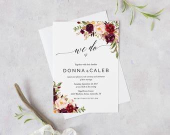 Marsala Wedding Invitation Suite, Burgundy Blush Bohemian Wedding Invitation Set, Fall Winter Wedding Invites, Peach Rustic Boho Chic- Donna