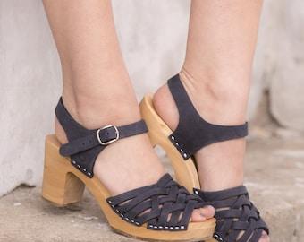 Clogs | Sandals clogs | Wooden clogs | Swedish clogs | boho | shoes | Kulikstyle | Women shoes | wooden clogs | Swedish clogs | Navy Blue