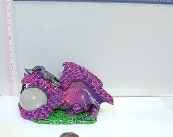Dragon, dragon ornament, dragon model, dragon statue, dragon figure, dragon figurine, Fimo dragon, Polymer Clay dragon, pink & purple dragon