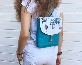 Turquoise Mini Waterproof Backpack, Vegan Solid Rucksack, Water Repellent Backpack, Turquoise Crossbody Bag, World Map Mini Backpack