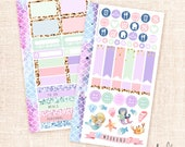 Mermaids - Personal size sticker kit / 2 pages - functional sheets for personal planners