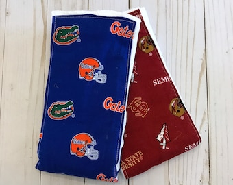 UF & FSU ~ Florida Gators Baby ~ Florida State Baby ~ Burp Cloths ~ Set of 2