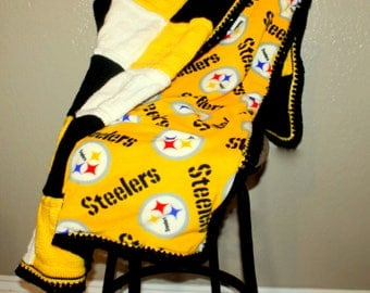 Pittsburge STEELERS Blanket, PERSONALIZED Blanket with your kid's, baby or Father's name, Baby Heirloom BLANKET,  Request new team below