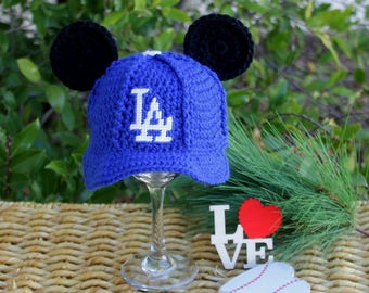 Baseball hat with MICKEY ears, baby baseball hat, Los Angeles DODGERS inspired (Handmade by me and not affiliated with the MLB or Disney)