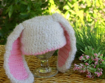 Baby Easter BUNNY Hat, Super Soft White Bunny with PINK ears, Newborn baby Bunny HAT