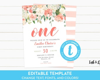 First Birthday Invitation Girl - Floral First Birthday - Editable Birthday Invitation - Printable Invitation - Templett Download