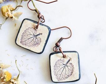 Ceramic Leaf Imprint Drop Earrings with Black Glaze