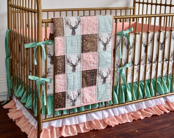 Woodland  Crib Bedding, Deer hide,  baby girl, coral bedding, peach, coral and mint, deer head, going stag, floral antlers, fawn, doe