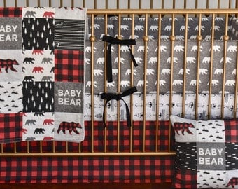 Bear Crib Bedding, Lumberjack bedding, woodland nursery, red buffalo plaid, red and black , modern nursery, quilt, bumpers, deer, skirt