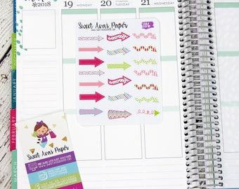 Large Wacky Arrow Planner Stickers | Arrow Planner Stickers | Rescheduled Stickers | Canceled Stickers | 186