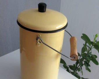 Enamel Yellow Milk Can, Soviet Milk Water Container, Farmhouse Chic, Rustic Decor