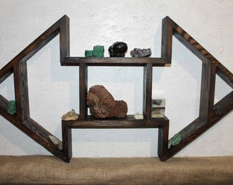 Triangle Shelf Crystal Display wooden shelf triple shelf curio shelf peak shelf minerals shelf Meditation Shelf Altar Shelf rustic shelves