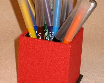 LARGE red and gray pencil POT anthracite