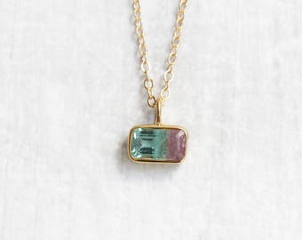 Bicolour Tourmaline Baguette Necklace | Gold Vermeil | Gold Filled Necklace