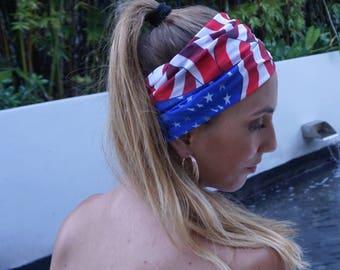 American Flag Headband / Wide Yoga Headbands / Fitness Headband / Running Headband / Yoga Wide Headband / Womens Headbands / Gift For