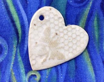 Ceramic Heart Pendant, Bee Honeycomb Pendant, Necklace Pendant/Bead, Jewelry Supplies,