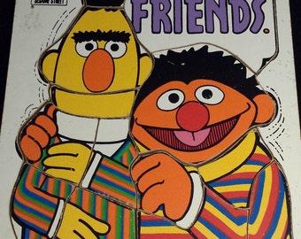 """Vintage 1976 Playskool; Sesame Street """"We're Friends"""" Wooden Puzzle, #315-17"""