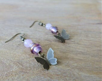 Rose quartz and bronze butterfly earrings