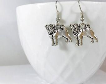 Cute pug 2 sided silver earrings