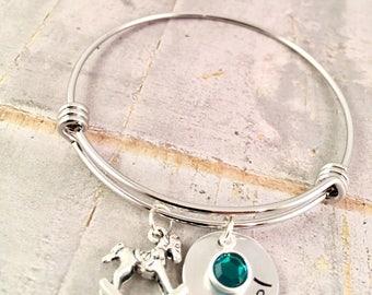 New mom bracelet, Baby name bracelet, rocking horse Charm Bracelet, name bracelet, birthstone charm, birthday gift, new mom, push present