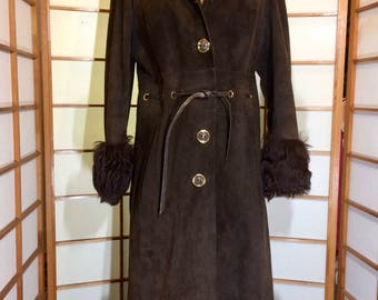 Vintage 70's Curly Lamb Afghan Suede Long Penny Lane Hippie Chic Brown Coat  M/L Made in Spain