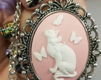 Kitten & Butterfly Cameo Necklace