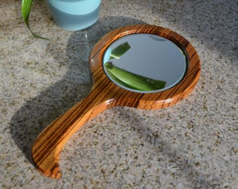 Wood hand mirror, zebrawood