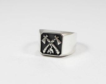 TOMAHAWK RING / Mens Signet Ring / Silver Ring / Tomahawk Signet Ring