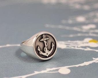 ANCHOR RING / Mens Silver Signet Ring / Anchor Signet Ring / Nautical Ring